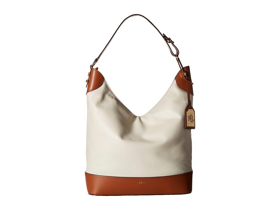 LAUREN Ralph Lauren - Dorrington Carissa Medium Hobo (Vanilla/Latte) Hobo Handbags