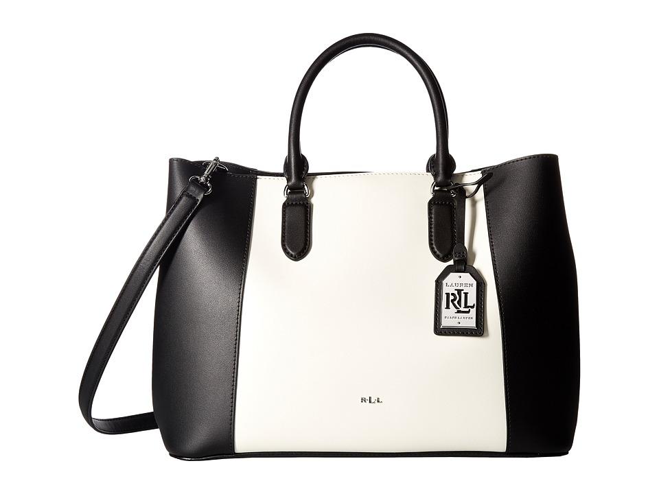 LAUREN Ralph Lauren - Dryden Marcy Tote Medium (Black/Vanilla) Tote Handbags