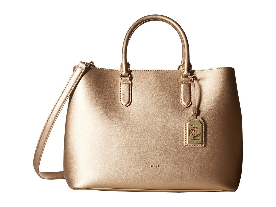LAUREN Ralph Lauren - Dryden Marcy Tote Medium (Gold/Birch) Tote Handbags
