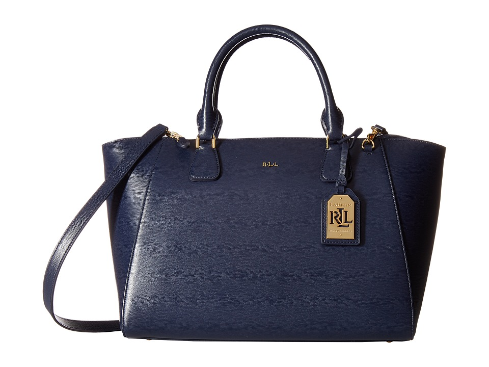 LAUREN Ralph Lauren - Newbury Stefanie Satchel Medium (Navy) Satchel Handbags