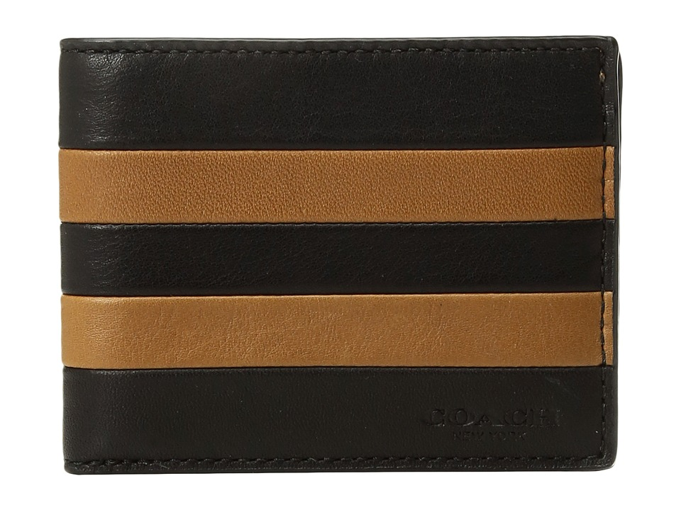 COACH - Modern Varsity Stripe Slim Billfold ID (Saddle 1) Bill-fold Wallet