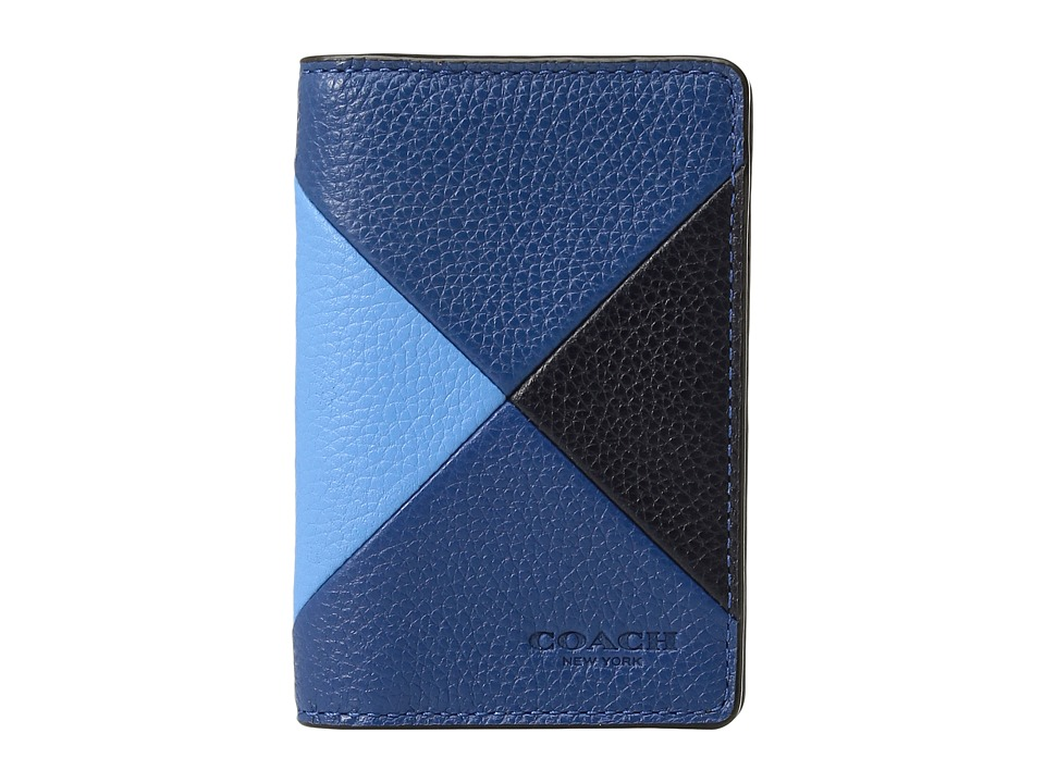 COACH - Refined Pebbled Patchwork Card Wallet (Azure 1) Wallet Handbags