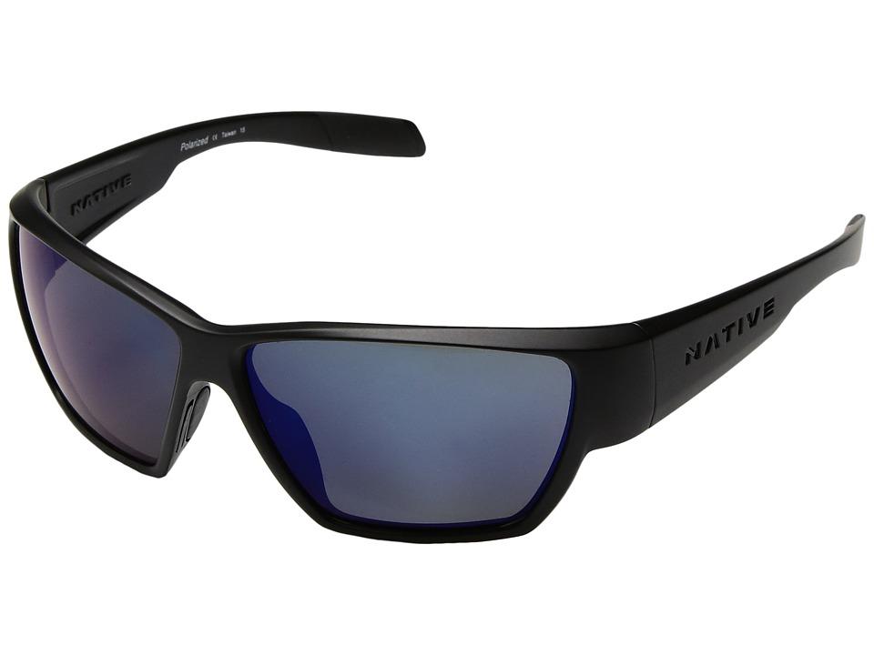 Native Eyewear - Wolcott (Matte Black/Blue Reflex) Sport Sunglasses