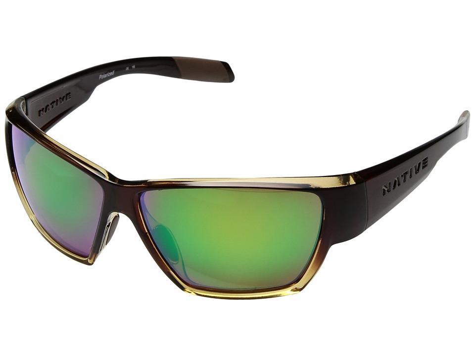 Native Eyewear - Wolcott (Stout Fade/Green Relex) Sport Sunglasses