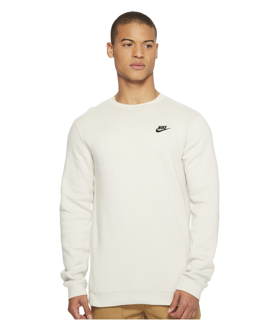Nike Club Fleece Pullover Crew (Light Bone/Black) Men