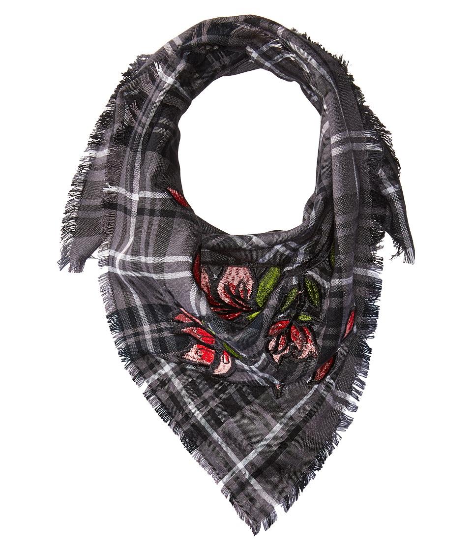 BCBGeneration - Plaid Floral Embroidered Bandana (Black) Scarves