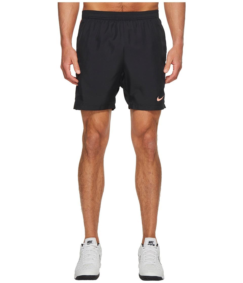 Nike Court Dry 7 Tennis Short (Black/Black/Lava Glow/Lava Glow) Men