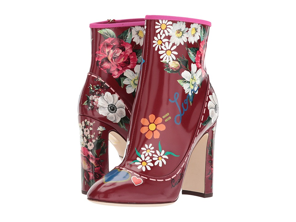Dolce & Gabbana Laminato Leather Bootie (Red Floral Print) High Heels