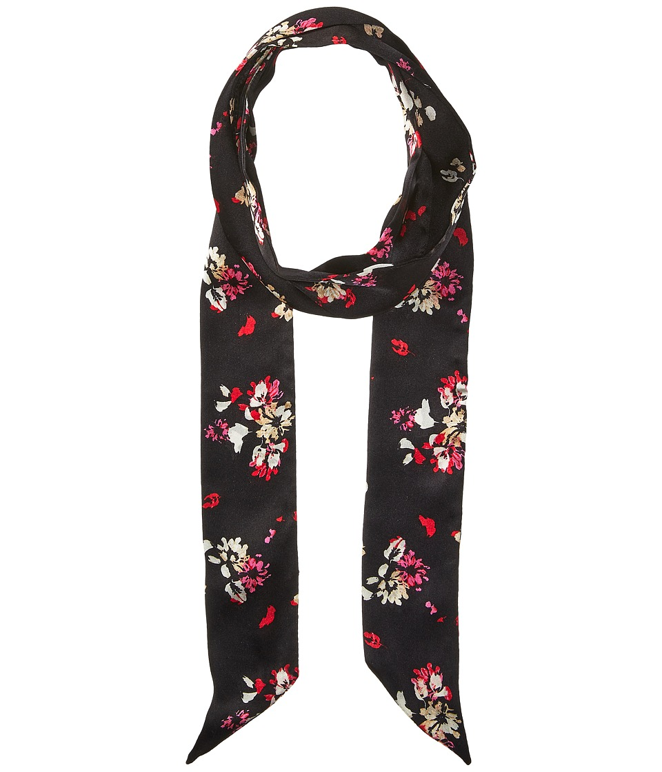 Vince Camuto - Painted Ditsy Floral Skinny Scarf (Black/Pink) Scarves