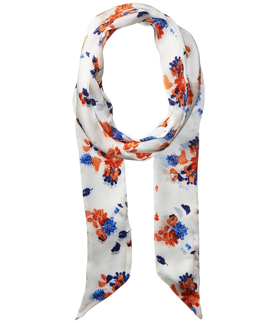 Vince Camuto - Painted Ditsy Floral Skinny Scarf (White/Blue) Scarves