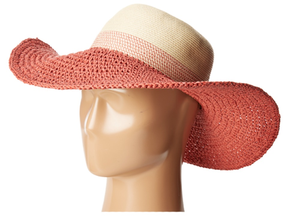 Vince Camuto - Color Block Stripe Floppy (Deco Rose) Traditional Hats