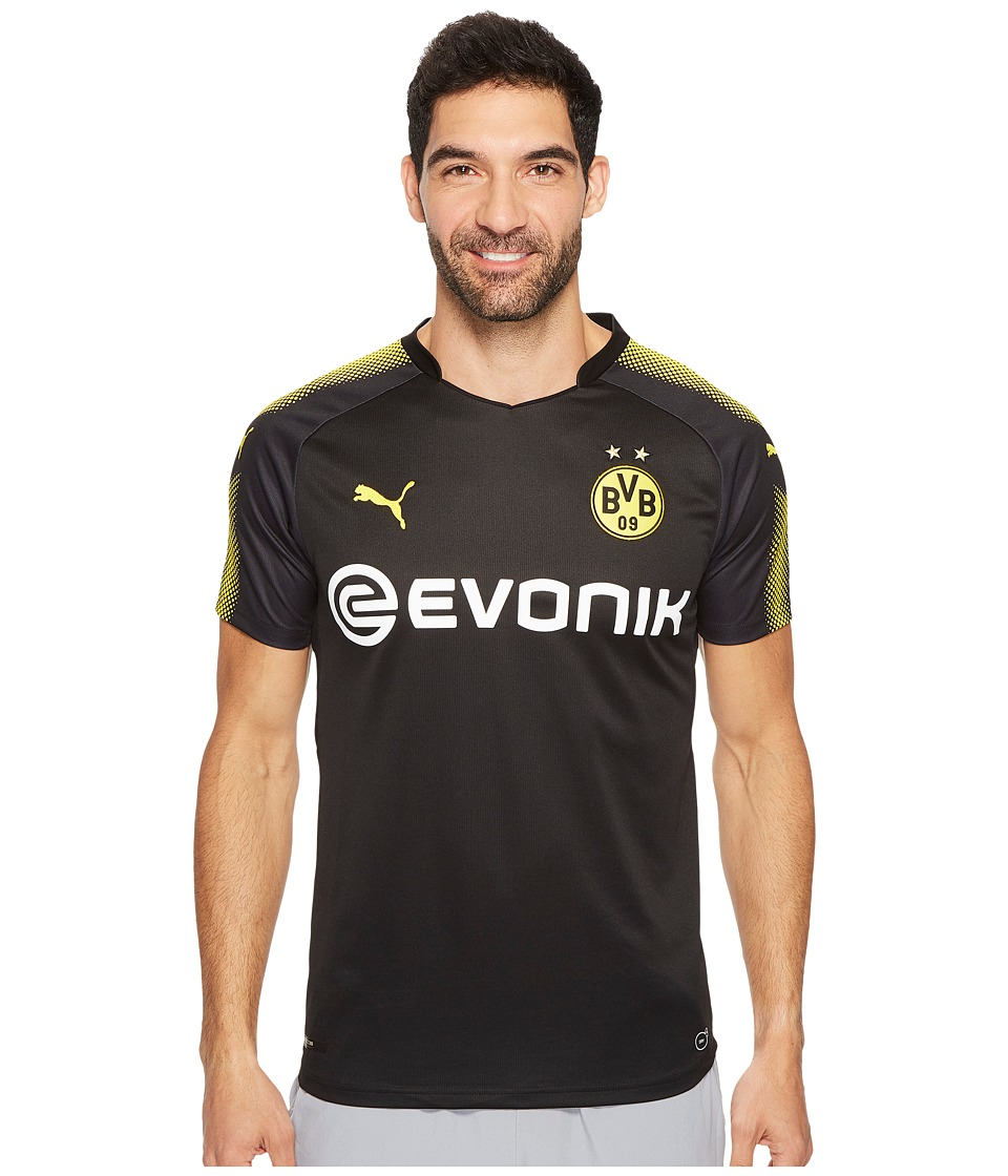 PUMA - BVB Away Replica Shirt w/ Sponsor Logo (Puma Black/Cyber Yellow) Men's T Shirt