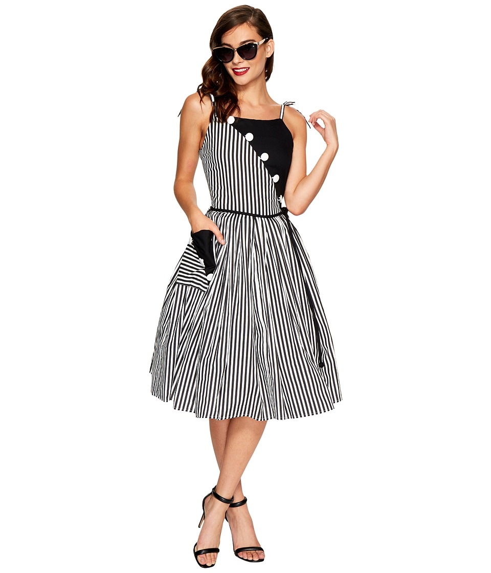 Unique Vintage - Hamilton Swing Dress (Black/White Stripe) Women's Dress