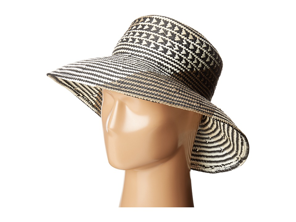 BCBGMAXAZRIA - Oversized Straw Bucket Hat (Black) Caps