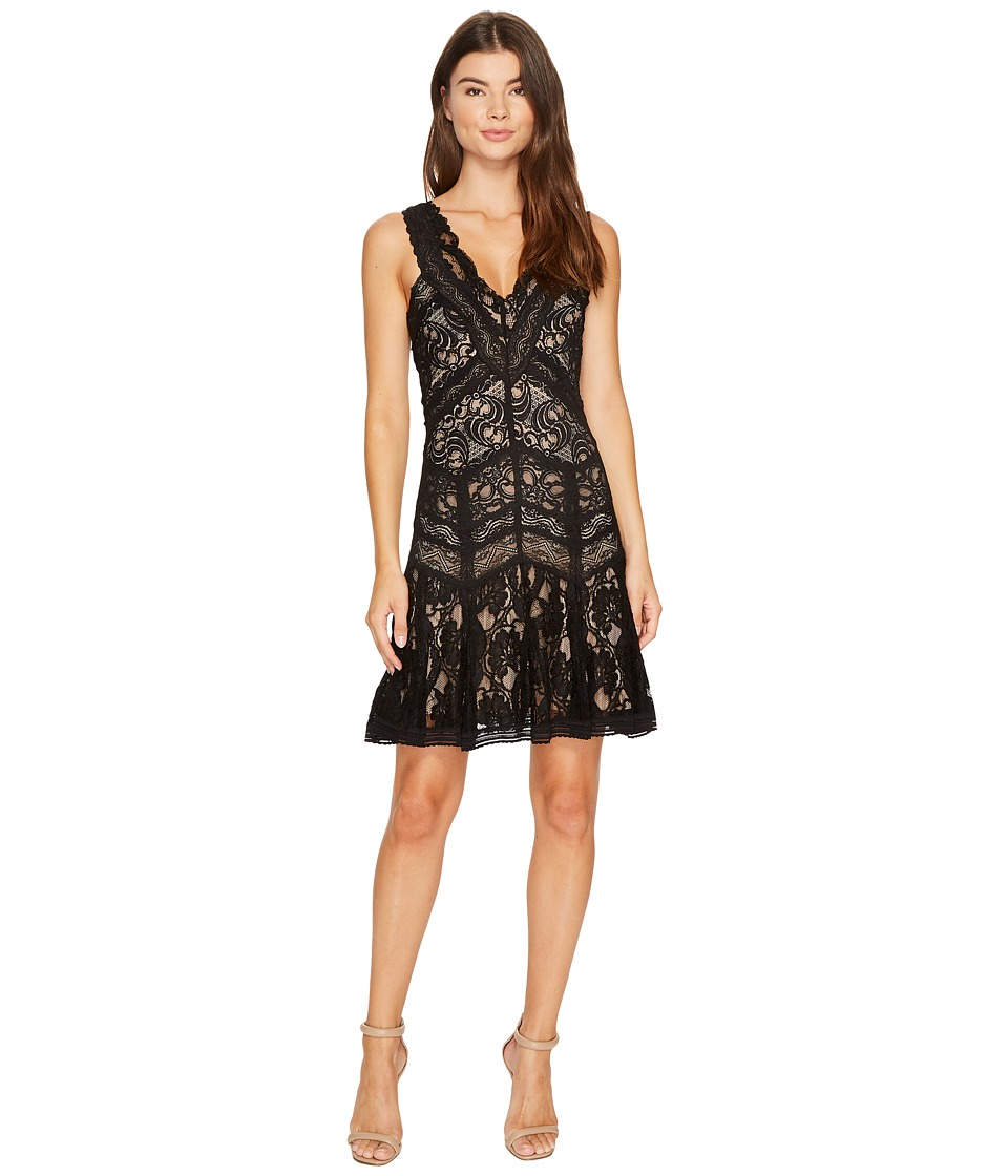 Nicole Miller Lace Combos Fit and Flare Black-Nude Dress