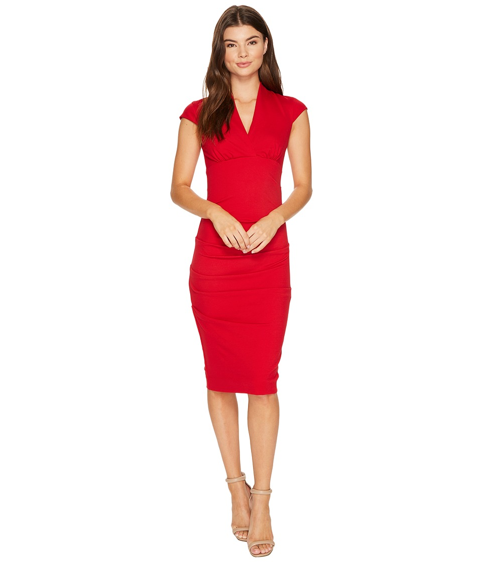 Nicole Miller - Hadley Ponte Cap Sleeve V-Neck Dress (Lipstick Red) Women's Dress