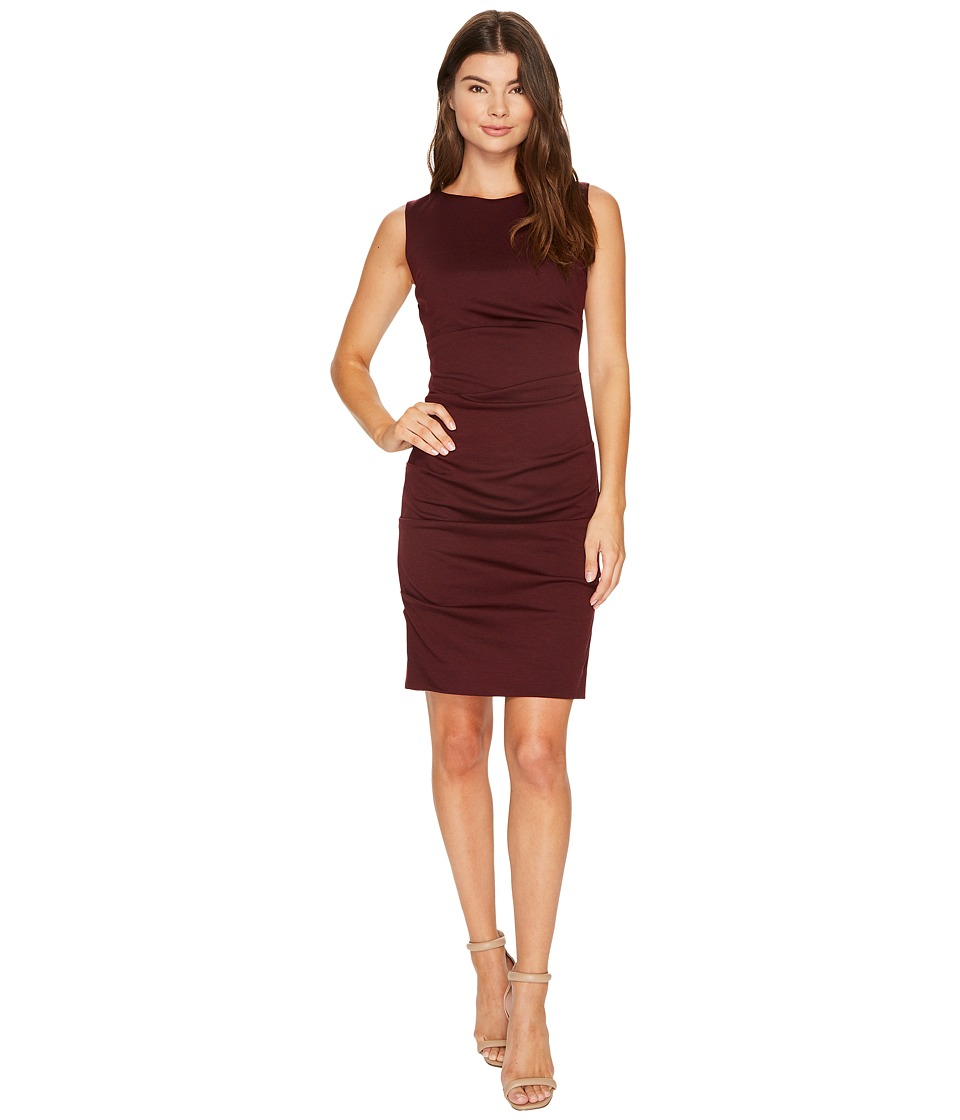 Nicole Miller Ponte Sleeveless Tucked Dress (Burgundy) Women's Dress