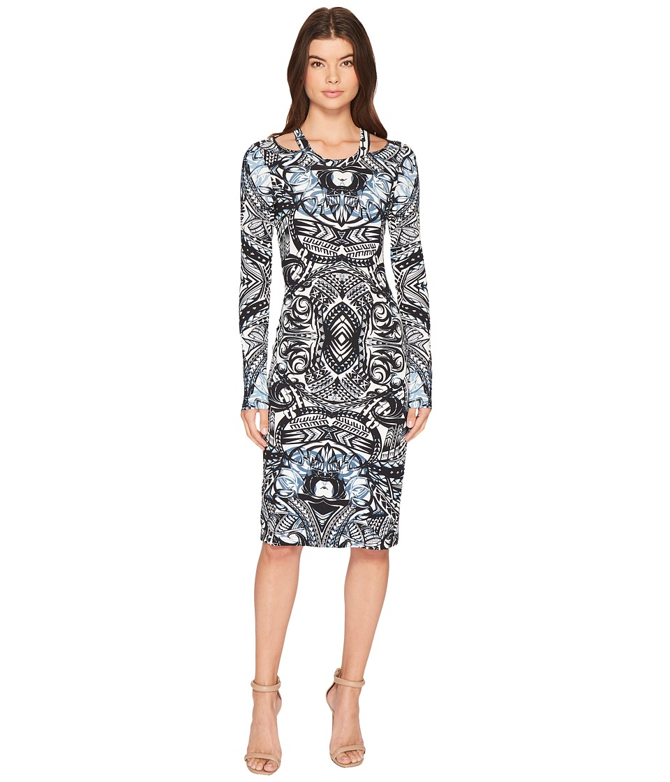 Nicole Miller - Riley Cut Out Shoulder Dress (Blue Multi) Women's Dress