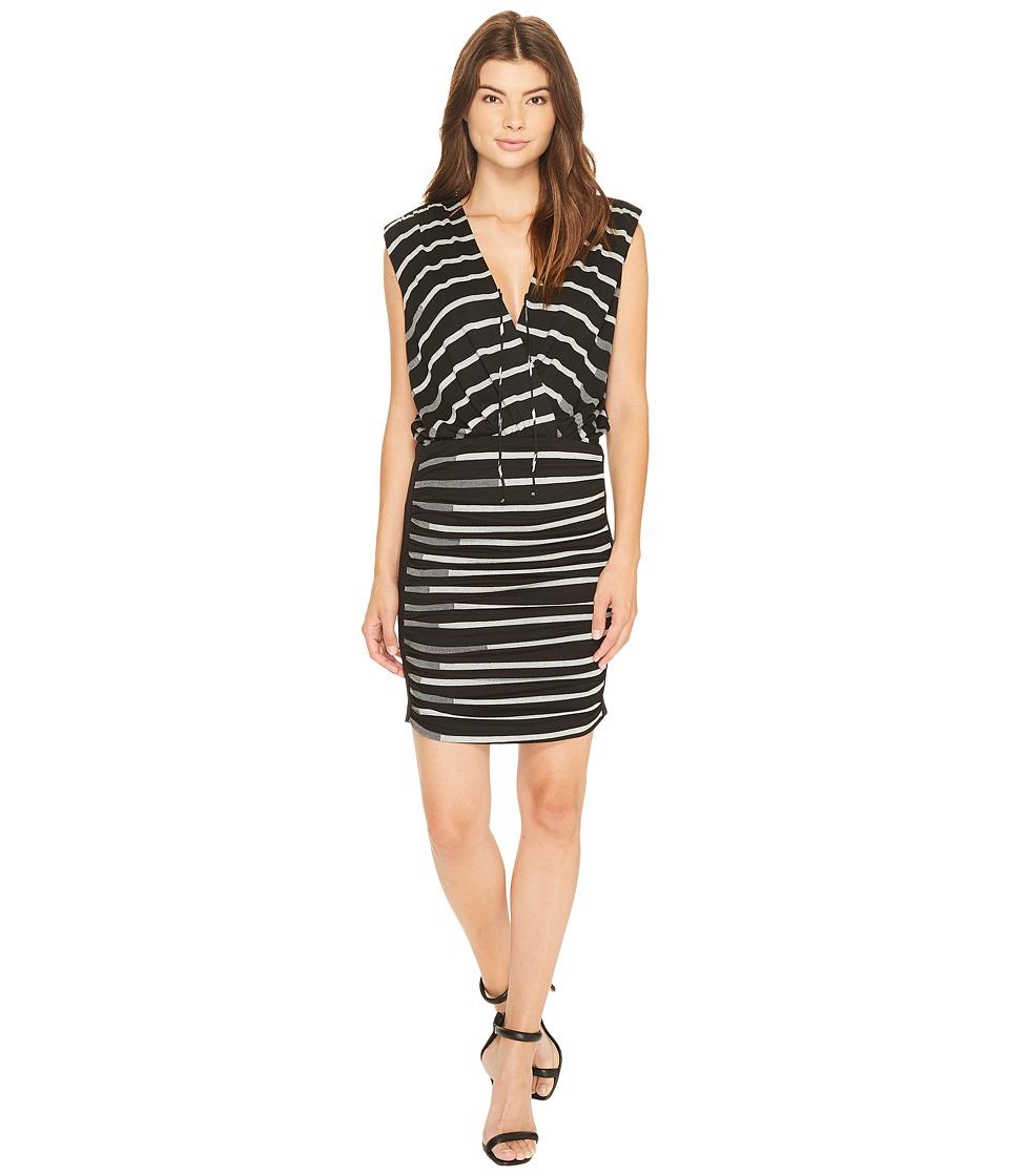 Nicole Miller - Striped Jersey Blouson Dress (Black/Grey) Women's Dress