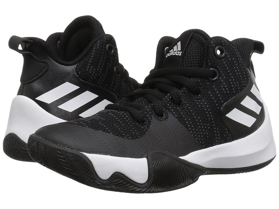 adidas Kids Explosive Flash Basketball (Little Kid/Big Kid) (Black/Carbon/White) Boys Shoes