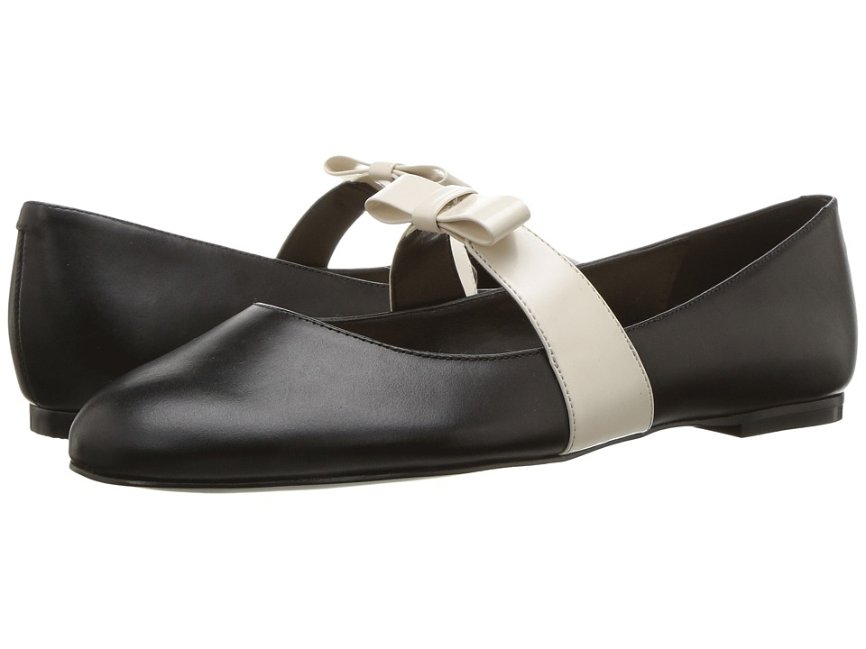 Nine West Butterfly (Black/Off-White Leather) Women