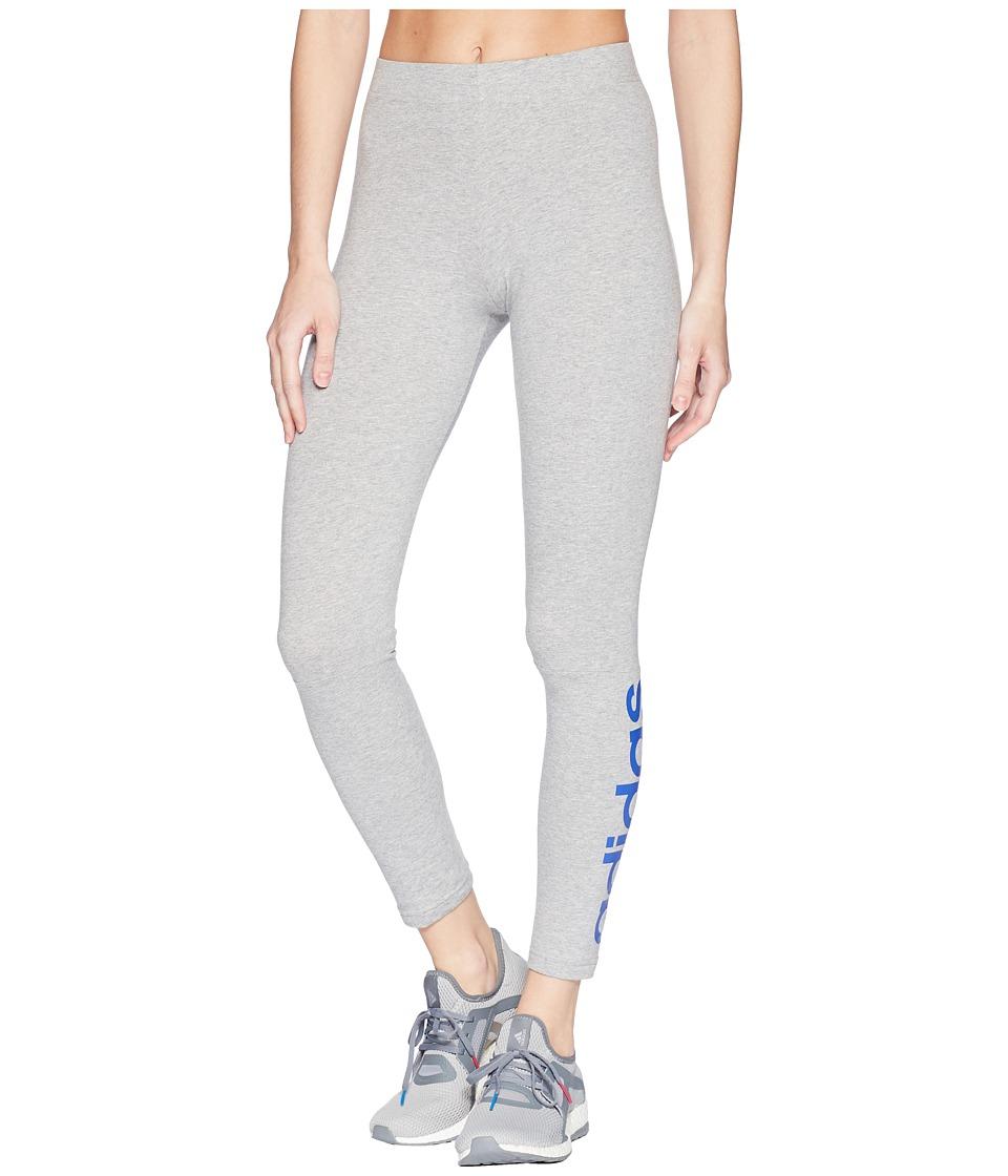 adidas Essentials Linear Tights (Medium Grey Heather/High-Res Blue) Women