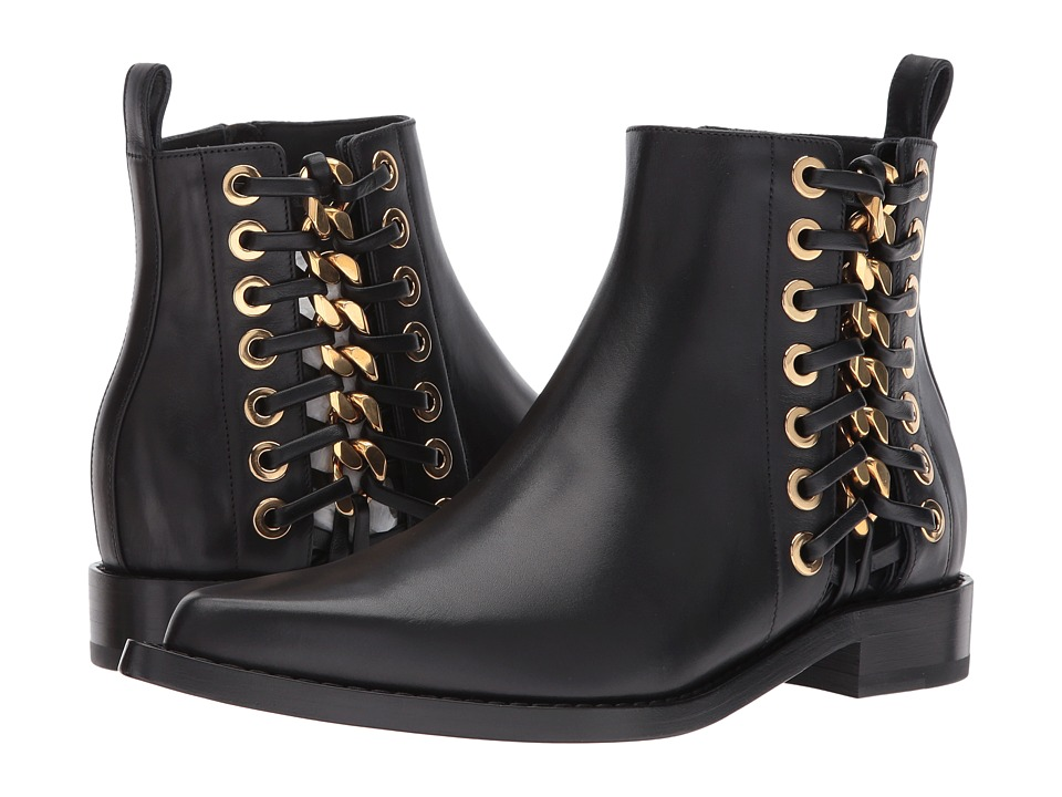 Alexander McQueen Braided Chain Ankle Boot (Black Gold) Women