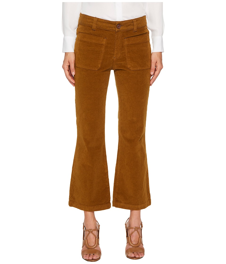 See by Chloe Velvet Crop Kick Flare Pants (Bronze Brown) Women