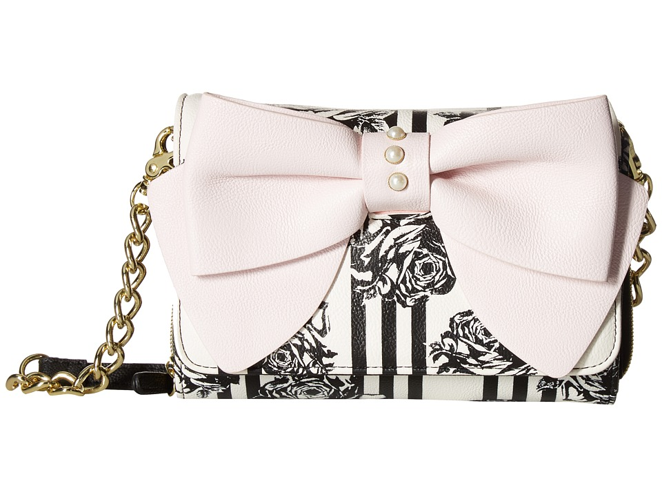 Betsey Johnson - Bow Crossbody (Black Floral) Cross Body Handbags