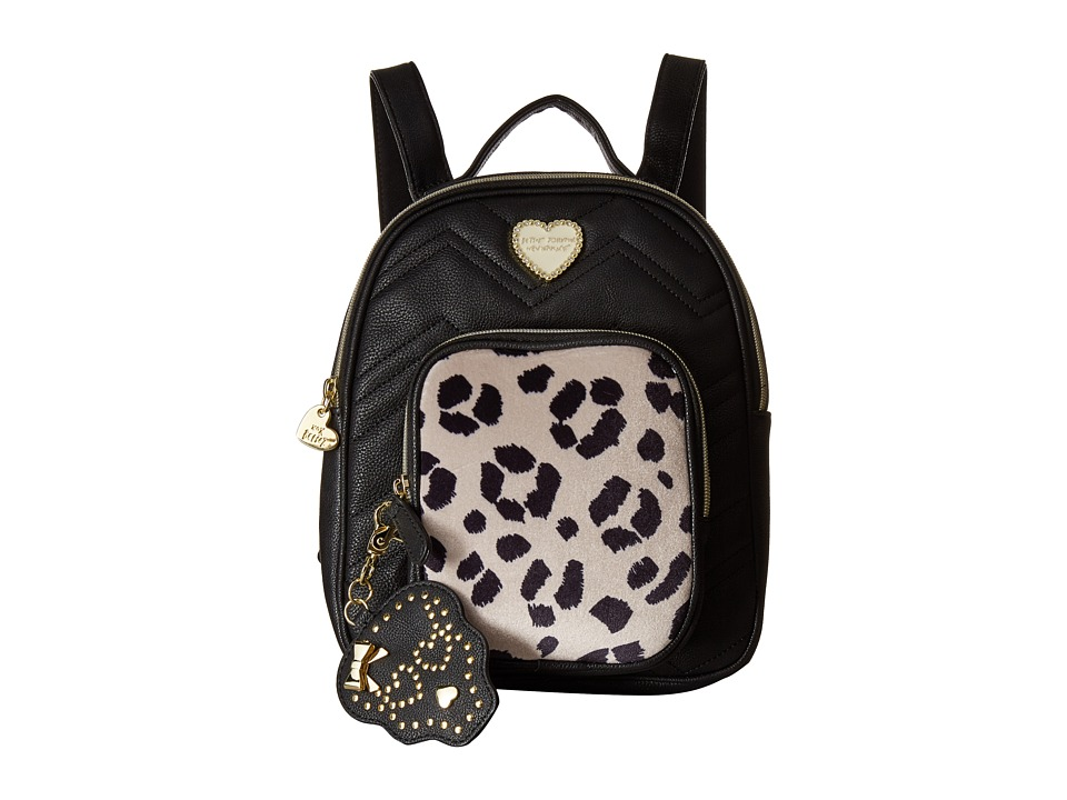 Betsey Johnson - Quilted Winged Heart Backpack (Black/Cheetah) Backpack Bags
