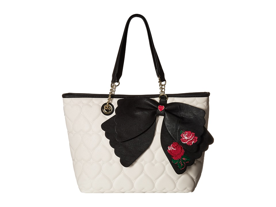 Betsey Johnson - East/West Tote with Pouch (Cream/Black) Handbags