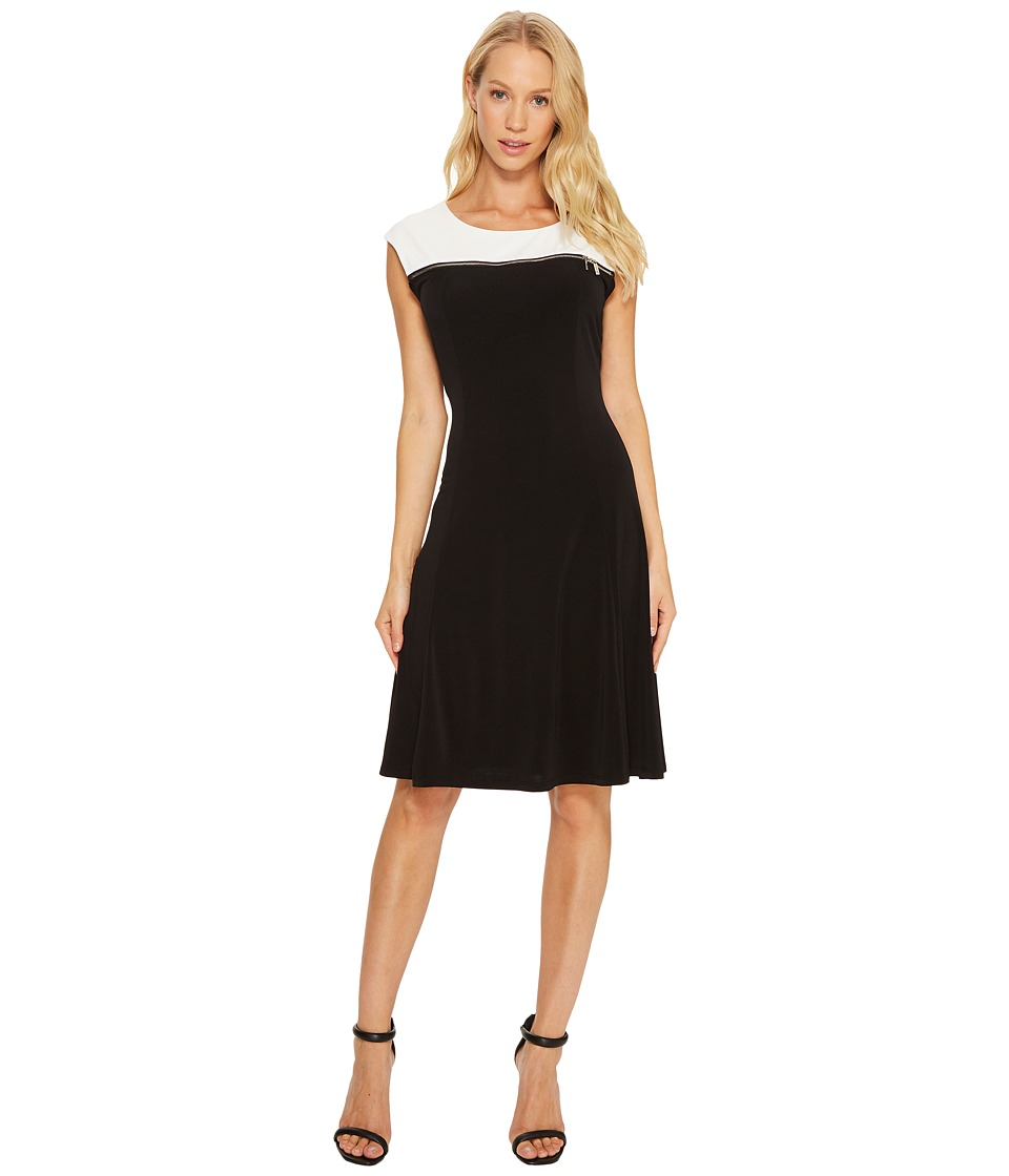 Calvin Klein - Sleeveless Dress with Zipper Yoke (Black) Women's Dress