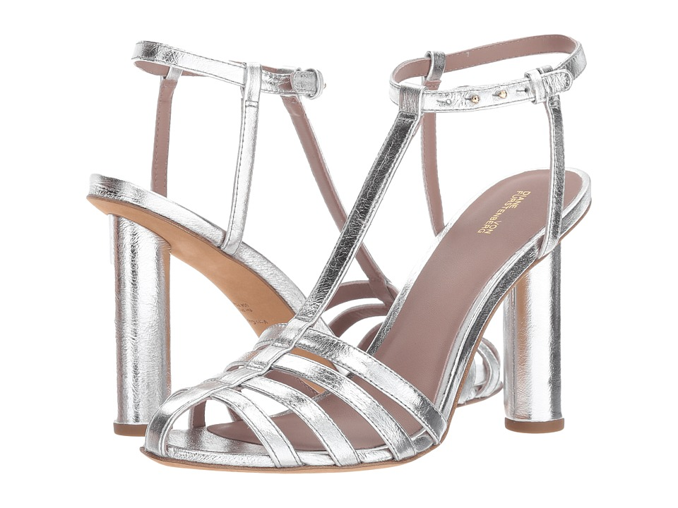 Diane von Furstenberg Eva-2 (Metallic Silver Cracked Leather) Women
