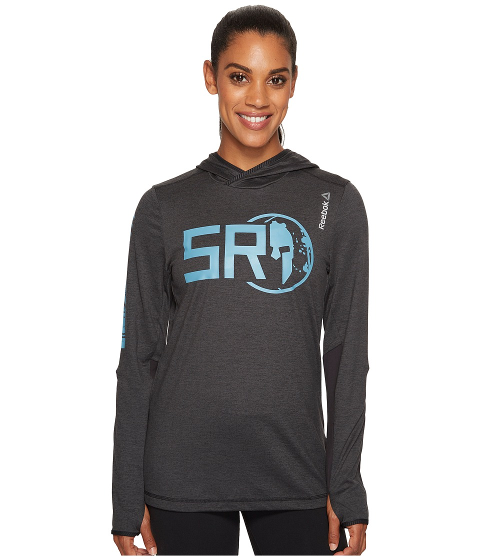 Reebok - Spartan Long Sleeve Hooded Tee (Coal) Women's Long Sleeve Pullover