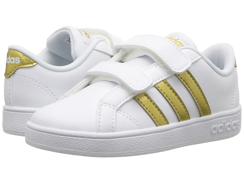 adidas Kids Baseline CMF (Infant/Toddler) (White/Gold/Black) Kids Shoes