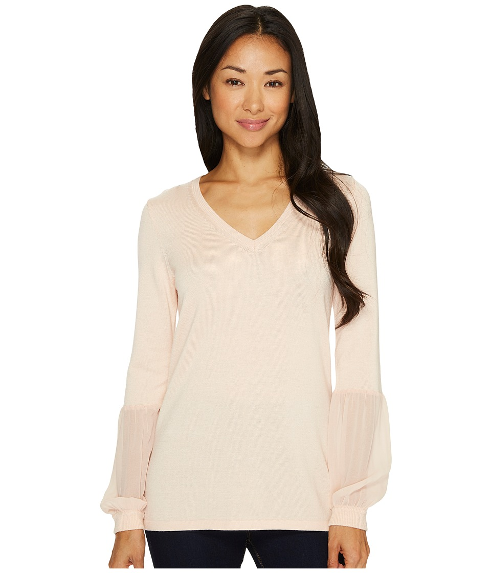Calvin Klein - V-Neck Blouse with Chiffon Cuff (Blush) Women's Blouse