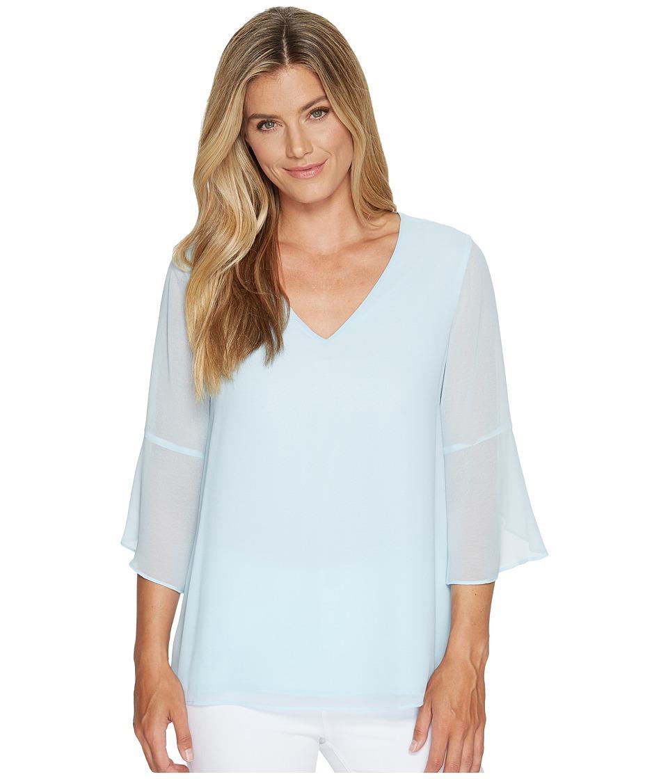 Calvin Klein - Flutter Sleeve V-Neck Blouse (Cool) Women's Blouse