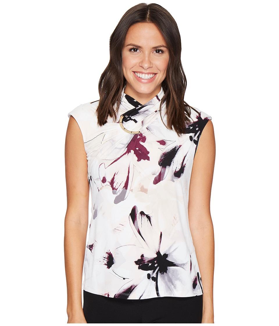 Calvin Klein - Sleeveless Print High Neck Blouse w/ Hardware (Blush Combo) Women's Blouse