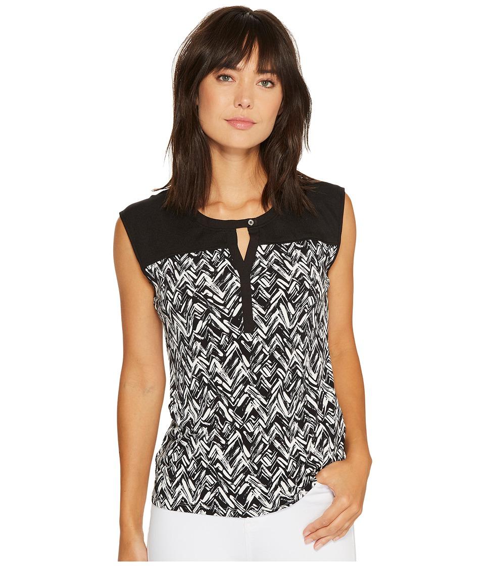 Calvin Klein Print Top with Keyhole (Black/White Tweed) Women
