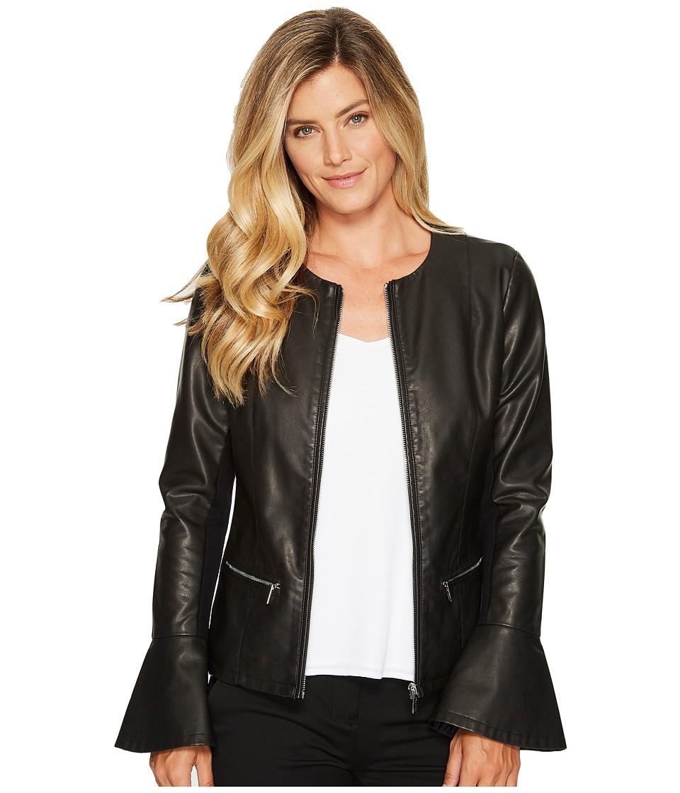 Calvin Klein Center Zip Jacket with Flare Sleeve (Black) Women