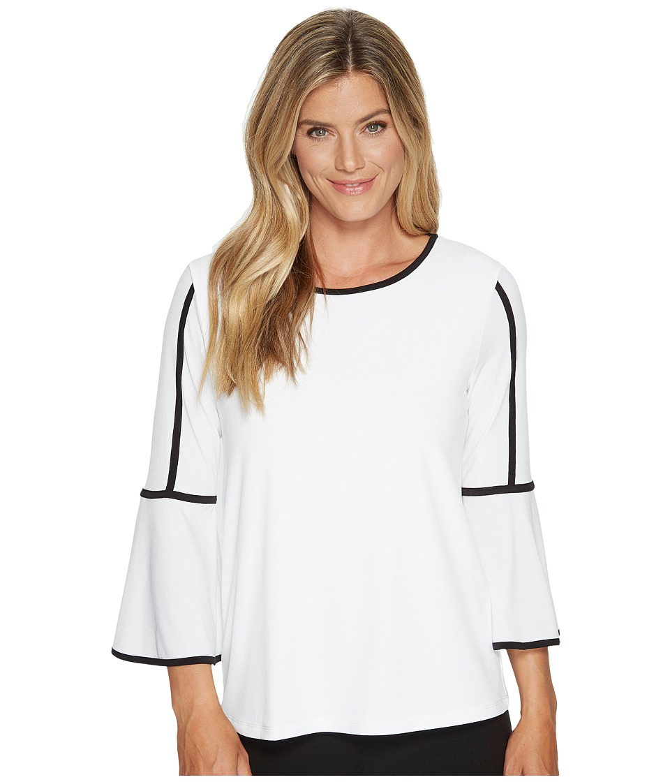 Calvin Klein - Bell Sleeve Top with Piping (Soft White) Women's Clothing