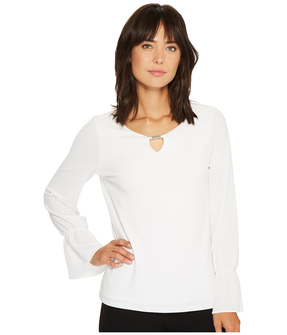 Calvin Klein Long Sleeve Top with Flare Sleeve and Hardware (Soft White) Women