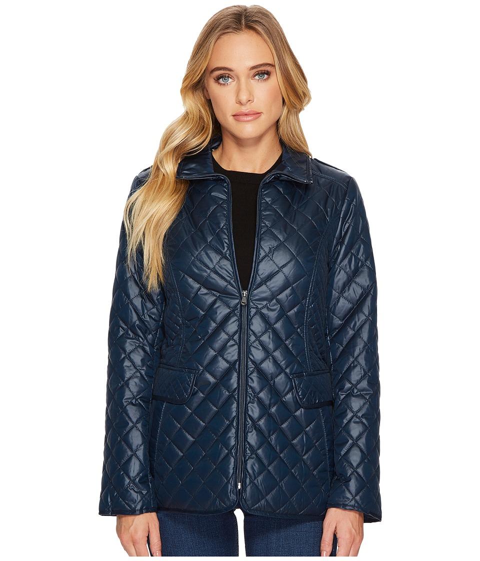 Ellen Tracy - Short Quilted Jacket (Deep Olive/Navy) Women's Coat