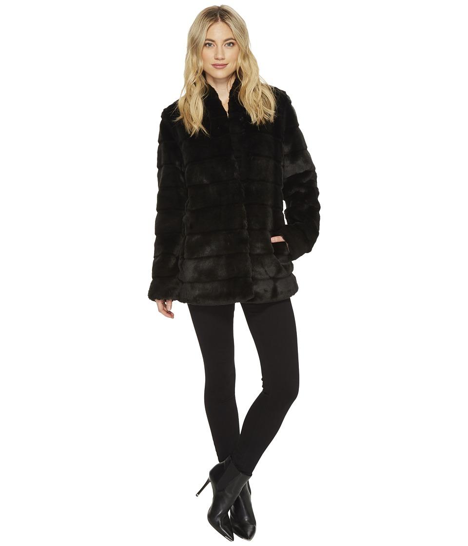 Ellen Tracy - Faux-Fur Coat (Black) Women's Coat