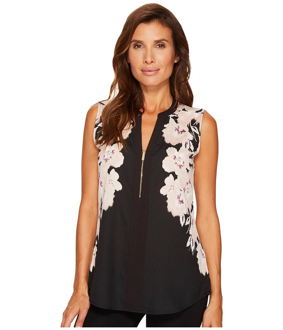 Calvin Klein - Sleeveless Print Top with 1/2 Zip (Blush/Black) Women's Clothing