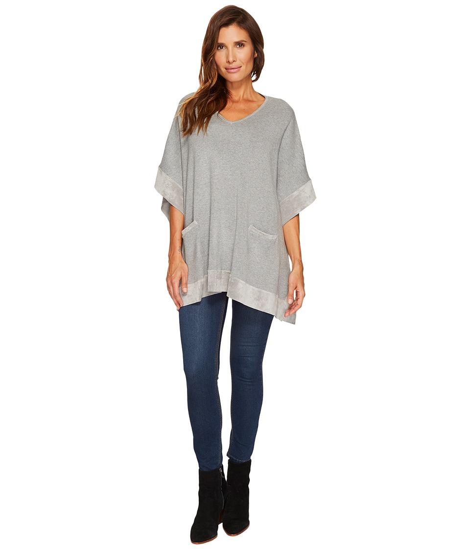 Calvin Klein Sweater Cape with Suede Detail (Heather Granite) Women