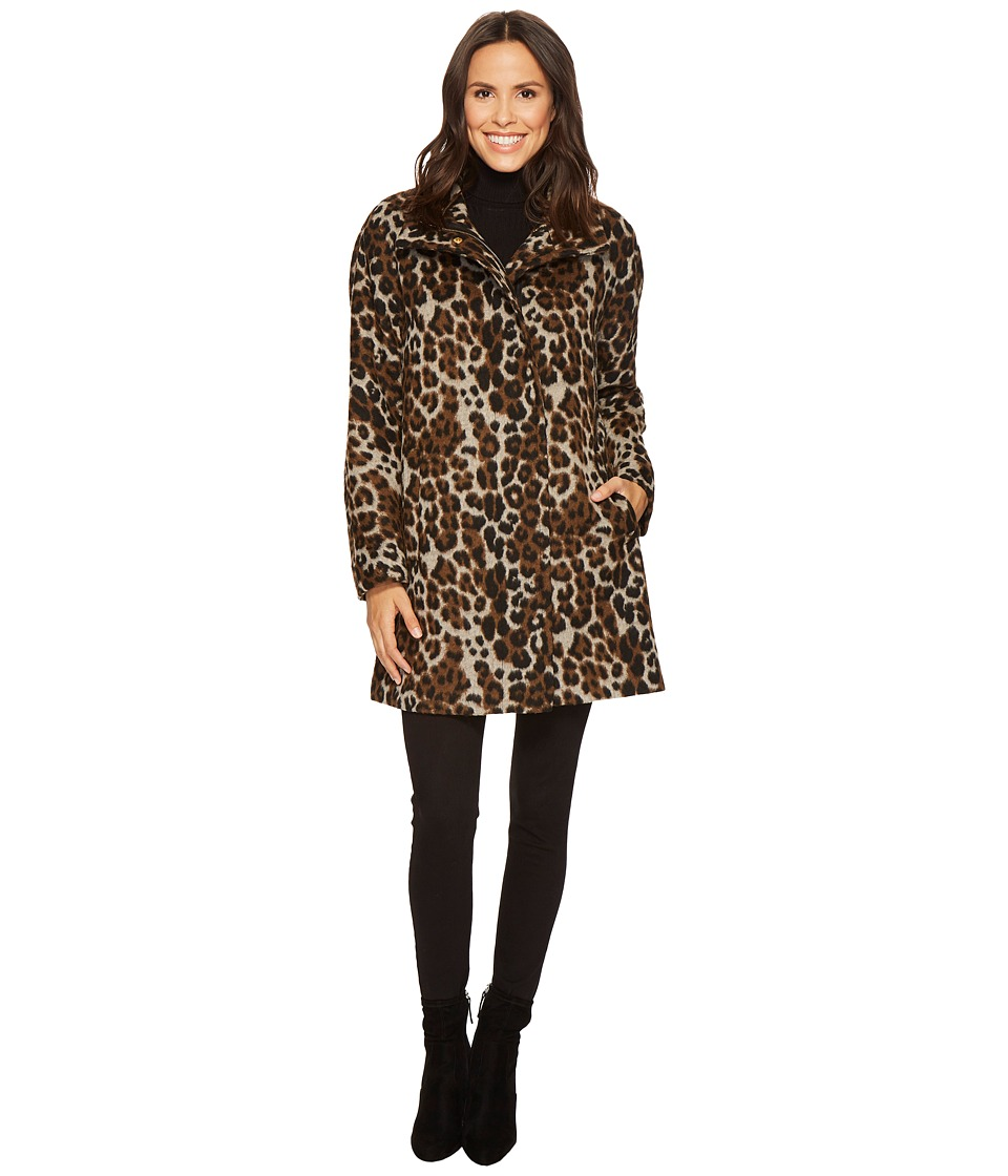 Ellen Tracy - Leopard Print Asymmetrical Coat (Leo) Women's Coat