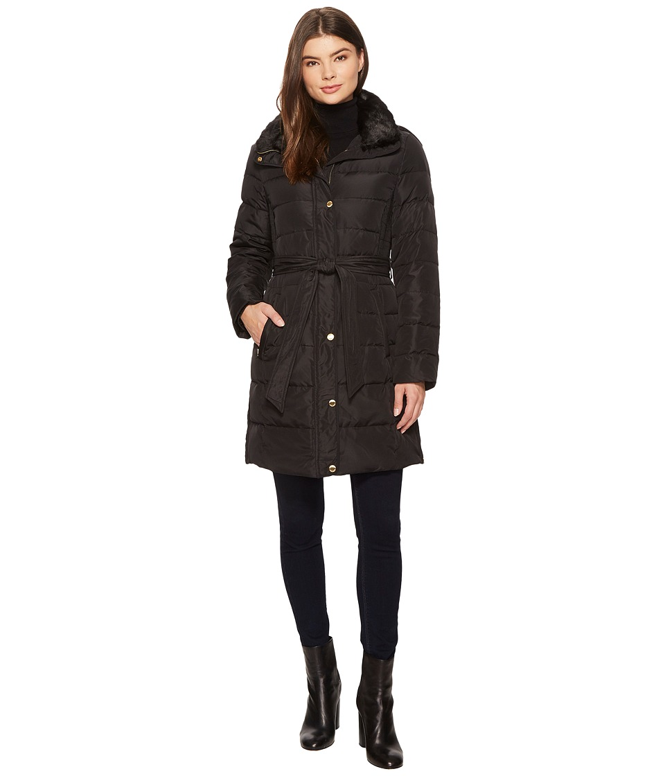 Ellen Tracy - Belted Down with Faux Fur Collar (Black) Women's Coat