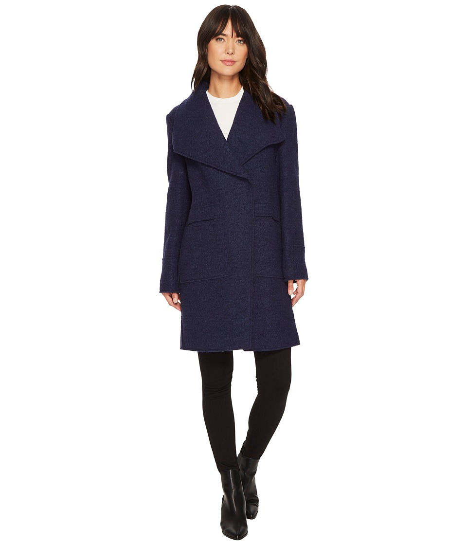 Ellen Tracy - Oversize Collar Boucle Coat (Navy) Women's Coat