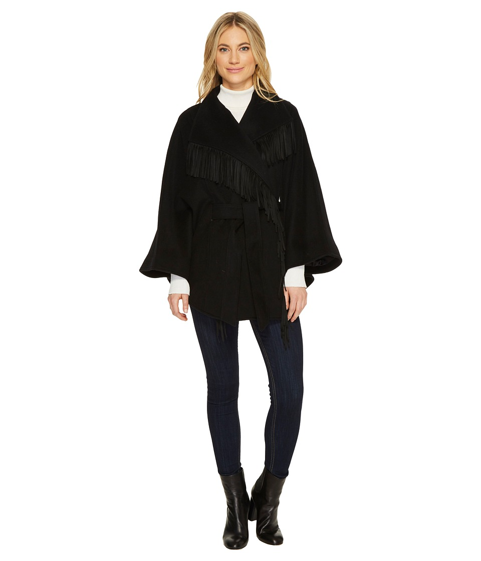 Ellen Tracy - Faux Suede Fringe Belted Wool Blend Cape (Black) Women's Coat